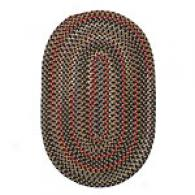 Traditional Brown Verigated Oval Braid Rug