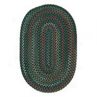 Traditipnal Green Variegated Oval Braid Rug