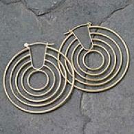 Tredny Circle Hoop Earrings, 14k Yellow Gold