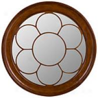 Trevor Round Mirror With Wooden Floral Design