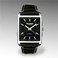 Triumph Men's Rectangular Black Chronograph Watch