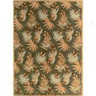 Tropical Green Fern Hand-tufted Wool Rug