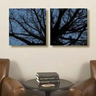 Twilight Trees Set Of 2 16x16 Canvas Prints