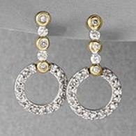 Two-tone 14k Diamond Circle Drop Earrings