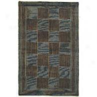 Valencia Black & Gold Check Hand-knotted Wool Rug