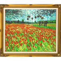 Van Gogh Field With Poppies Framed Oil Painting