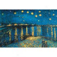 Van Gogh Starry Night At The Rhone Canvas Print