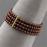 Vermeil Chocklate Pearl 4 Row Bracelet