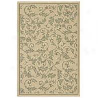 Verona Natural & Green Scroll Indoor/outdoor Rug