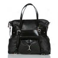 Via Spiga Talia Black Leather Tote With Pocket