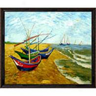 Vincent Van Gogh Boats At St. Maries Oil Painting