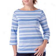 Vineyard Vines Striped Boatneck Silk Blend Top