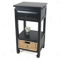 Vintage Black Accent Table By the side of Basket