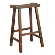 Walnut Sqdddle Bottom Wooden Bar Stool