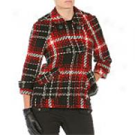 Walter Black, Red & White Plaid Wool Blend Jerkin