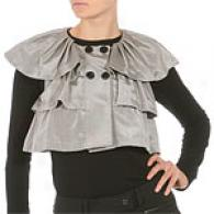 Walter Smoke Cropped Tiered Capelet Top