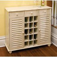 White Shutter Buffet With Wine Storage