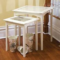 White Shutter Nested 2pc Table Set