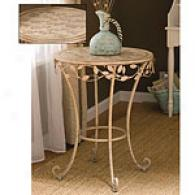 White Willow Round Metal Side Table
