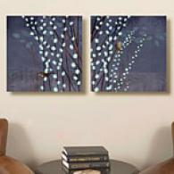 Willow Wren Set Of 2 24in X24in Canvas Print