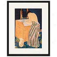 Woman Bathing Framed Print By Mary Cassatt