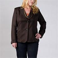 Womens Marina Rinaldi Brown Linen Jacket