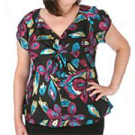 Womens Nine West Silk Flrral Gather Top