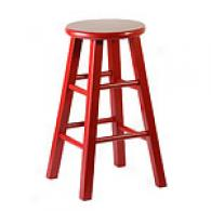 Wooden Chilli Red Roundtop 24in Barstool