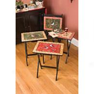 Woodland Birds Tv Trays Set Of 4 With Stanf