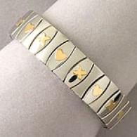 Xo Stainless Steel Stretch Bracelet, 18kk Accents