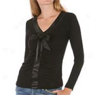Yuka Long Sleeve Knit Upon Satin V-neck Front Top