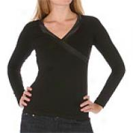 Yuka Longsleeve Knit Wrap Top With Satin Piping