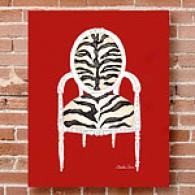 Zebra Chair 16in X 20in Canvas Print