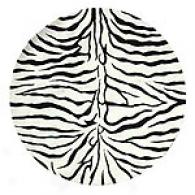 Zebra Striped Hand-tufted 100% Wool Round Rug