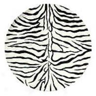 Zebra Striped Hand-tufted 100% Wool Round Rug