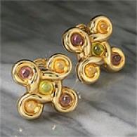 Zydo Designer 18k Gold Multi-gemstone Earrings
