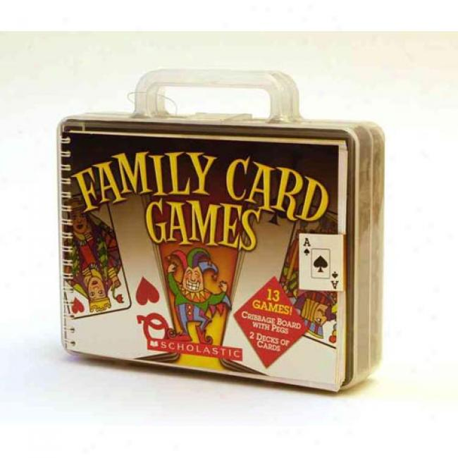 Family Card Games [woth 2 Cover with a ~ Of Cards In Plastic Carrying Containerwith Cribbage Pegswith Cribbage Board]