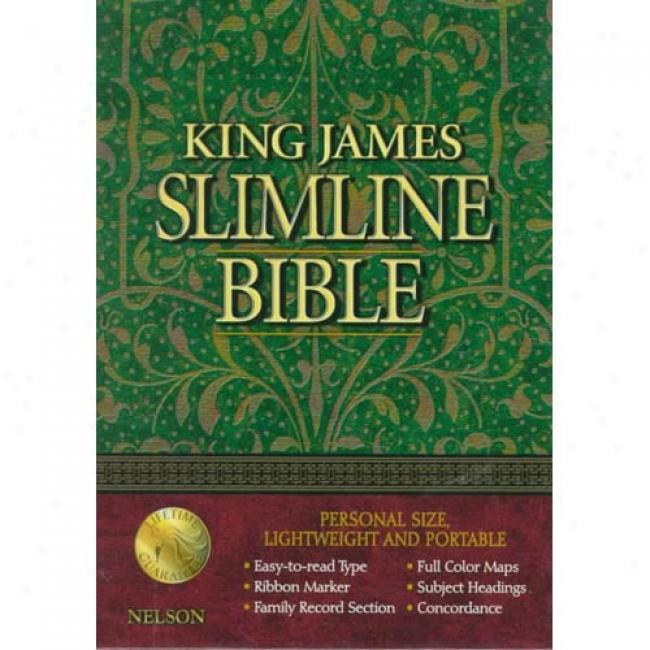 King James Slimline Bible: 2015 Black Bonded Leather : Gilded-gold Page Edges