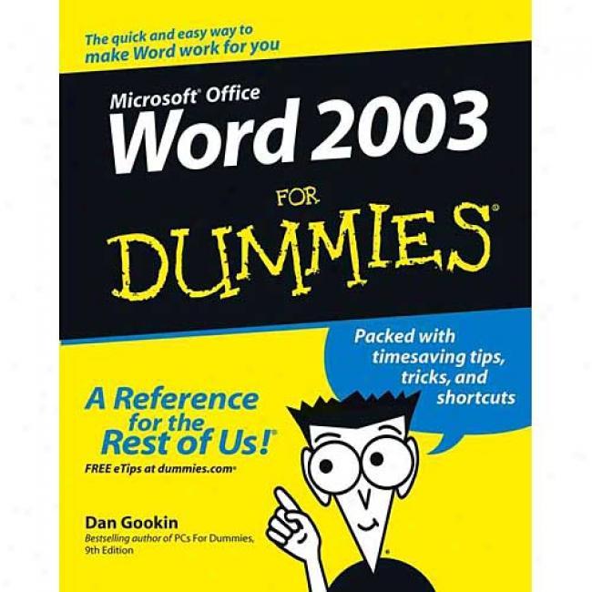 Word X For Dummies By Dan Gookin, Isbn 0764539825