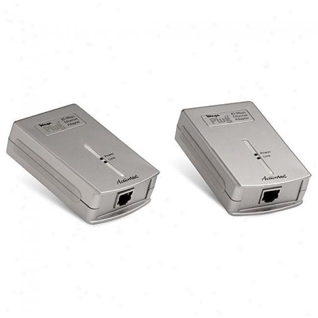 Actiontev Megaplug 85mbps Powerline Ethernet Adapter Kit, Two-pack