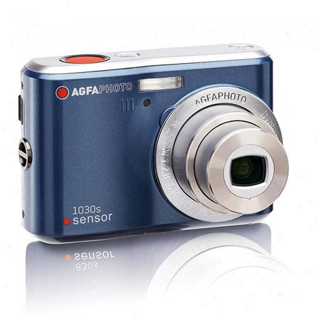 Agfaphoto Sensor Dc-1030s Blue 10mp Digital Camera W/ 3x Optical Zoom & 2.4