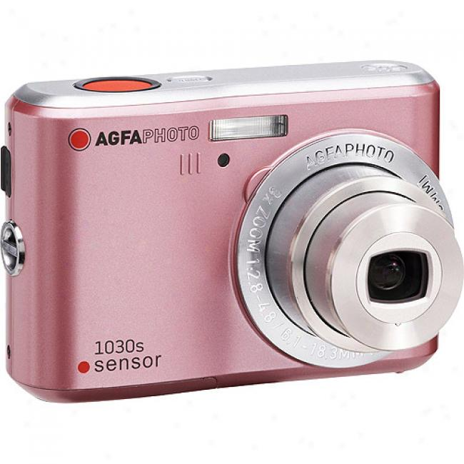 Agfaphoto Sensor Dc-1030s Pink 10mp Digital Camera W/ 3x Optical Zoom & 2..4