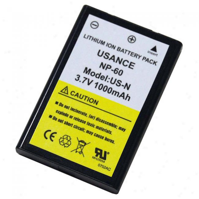 Aiptek Np60 Li-ion Rechargeable Battery For Action Hd 1080p, Go-hd & A-hd Camcorders, 1000mah