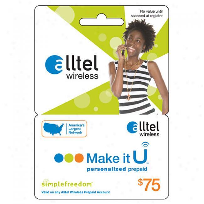 Alltel U $75 Prepaid Wireless Refill Card