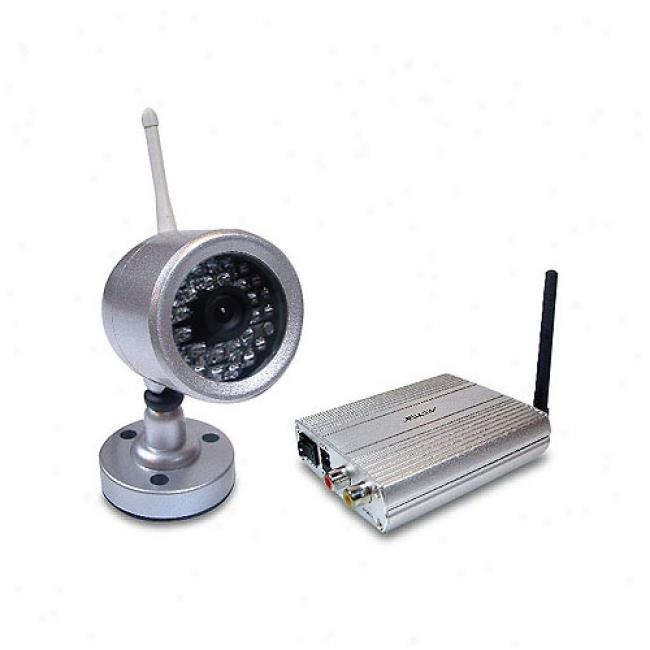 Astak 2.4ghz Ccd Night Vision Weatherproof Distort Wireless Security Camera, Silver