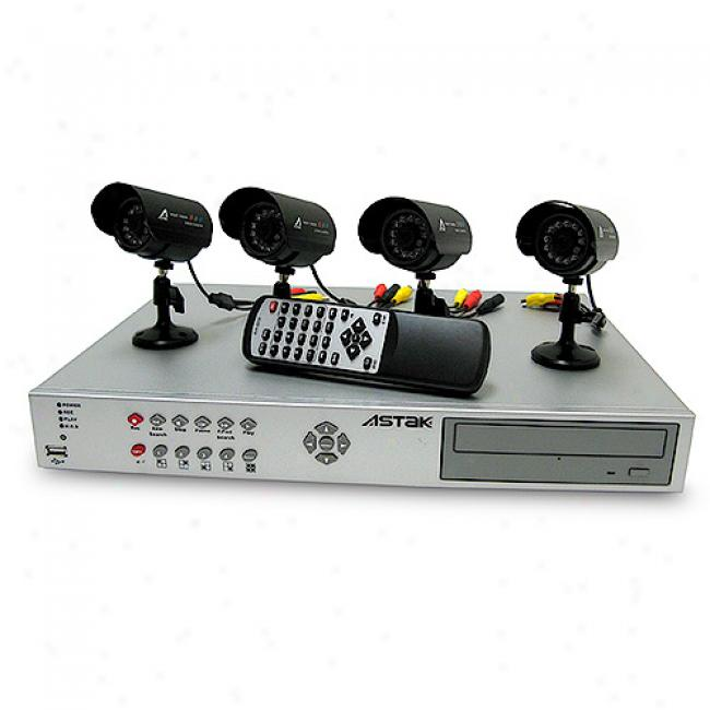 Astak 4 Colpr Security Camera System With Dvr