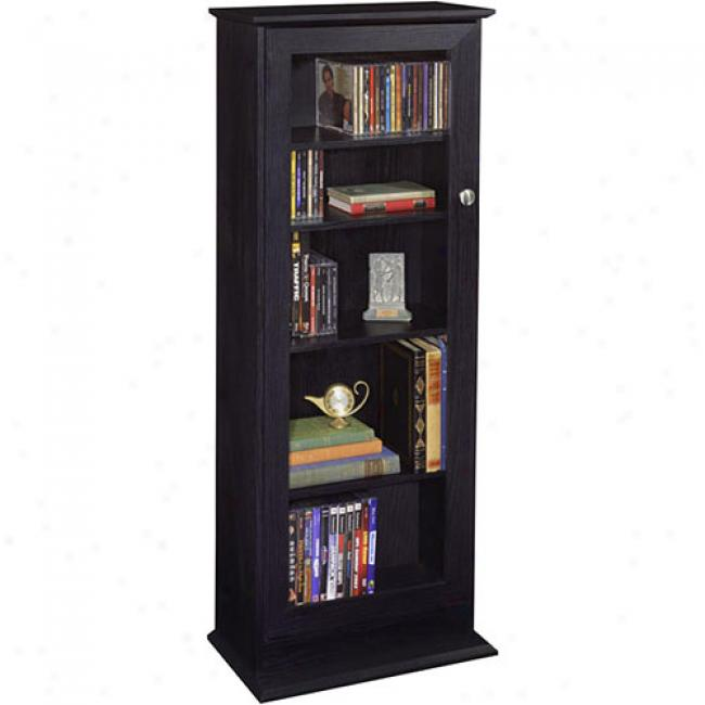 Atlantic Allegro 234-cd Wood Cabinet W/ Glass Door, Black