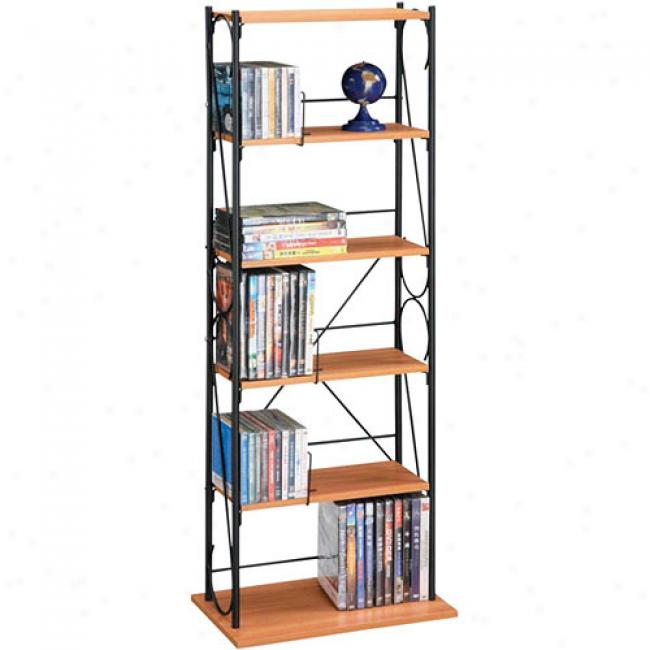 Atlantic Oasis 170-cd Wood & Wire Shelving Unit, Oak/black