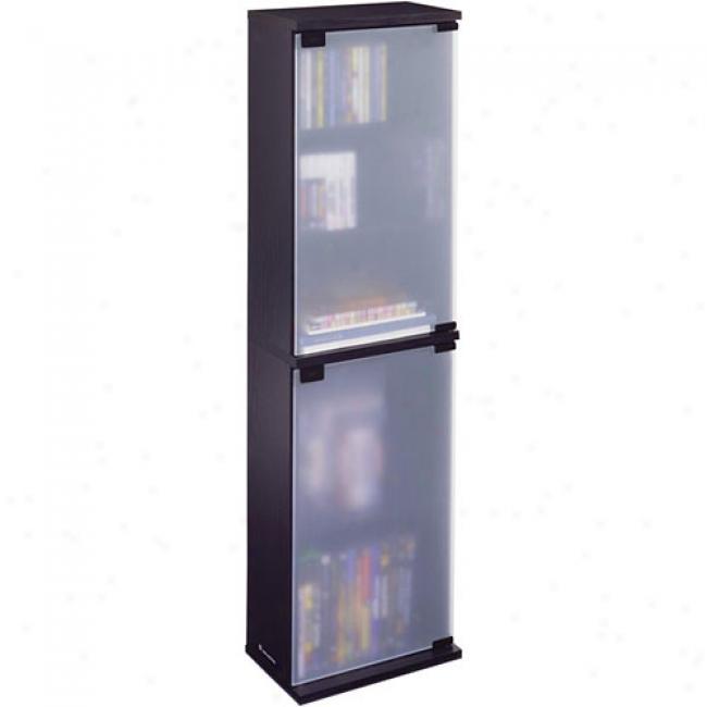 Atlantic Oskar 156-cd Wood Case W/ Glass Doors, Black