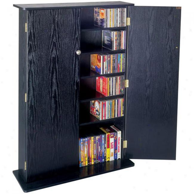 Atlantic Radius 448-cd Wood Cabinet W/ Doors, Black